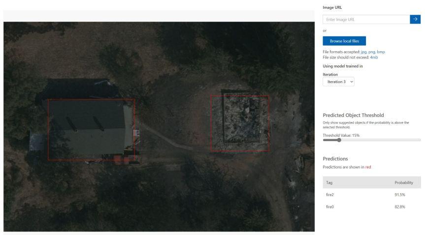 Custom Vision Fire Damage Detection
